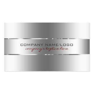 Plain Metallic Silver Design Stainless Steel Look Pack Of Standard Business Cards