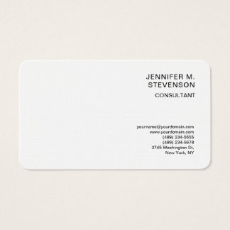 Plain Minimalist Simple White Clean Simple Linen Business Card
