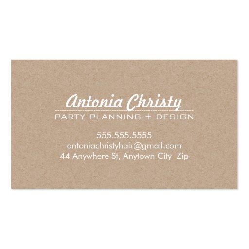 PLAIN MODERN ECO kraft modern bold white writing Business Card