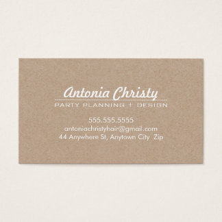 PLAIN MODERN ECO kraft modern bold white writing Business Card