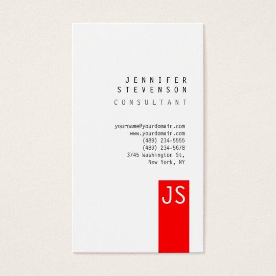 Plain Monogram Red Vertical Clean Business Card