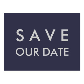Plain Navy Blue & Silver Save the Date Postcard