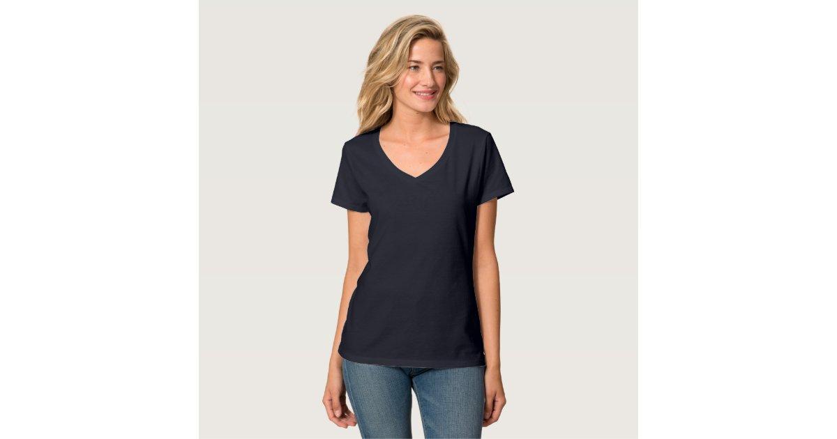 Plain navy blue t-shirt for women, ladies v-neck | Zazzle