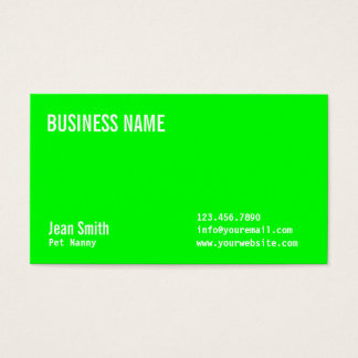 Plain Neon Green Pet Nanny Business Card