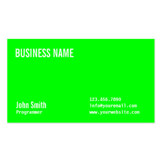Plain Neon Green Programmer Business Card