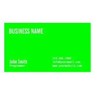 Plain Neon Green Programmer Business Card