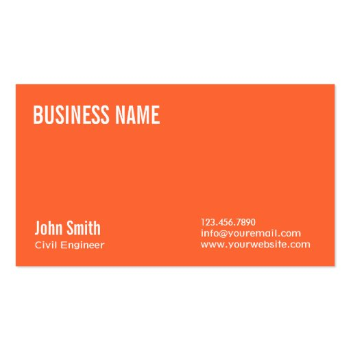 Plain Orange Civil Engineer Business Card
