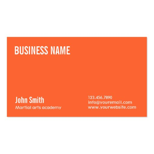 Plain Orange Martial Arts Business Card