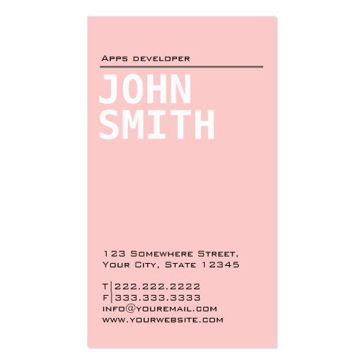 Plain Pink Apps developer Business Card