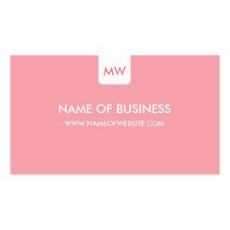 Plain Pink Chic Monogram Modern Social Media Pack Of Standard Business Cards