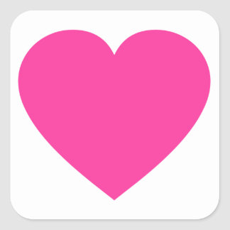 Plain Pink Heart Square Stickers