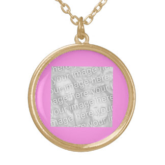 Plain Pink Photo frame Necklace