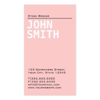 Plain Pink Stock Broker Business Card