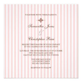 Plain Pink stripes Wedding Invitations