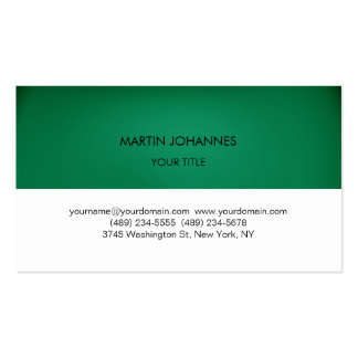 Plain Professional Green White Business Card