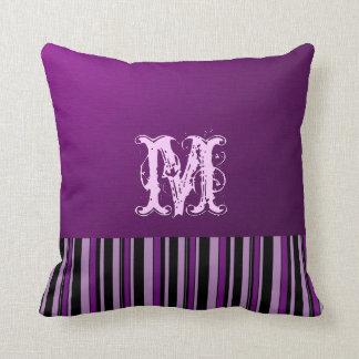 Plain Purple Background. Monogram Retro Stripes Cushion
