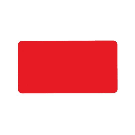Plain red background blank custom address label
