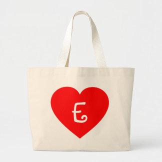 Plain Red Monogrammed Heart Jumbo Tote Bag