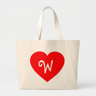 Plain Red Monogrammed Heart Tote Bags