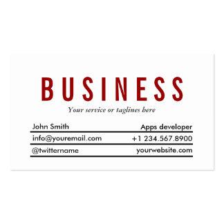 Plain Red Title Apps developer Business Card