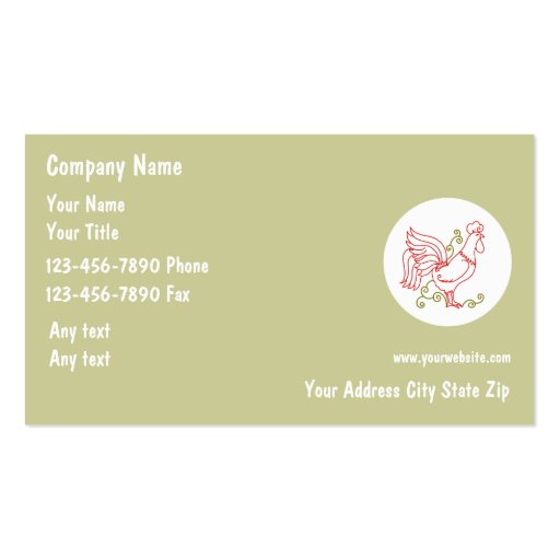Plain Rooster Business Card