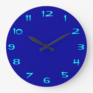 Plain Royal Blue and Aqua > Plain RoundClocks Large Clock