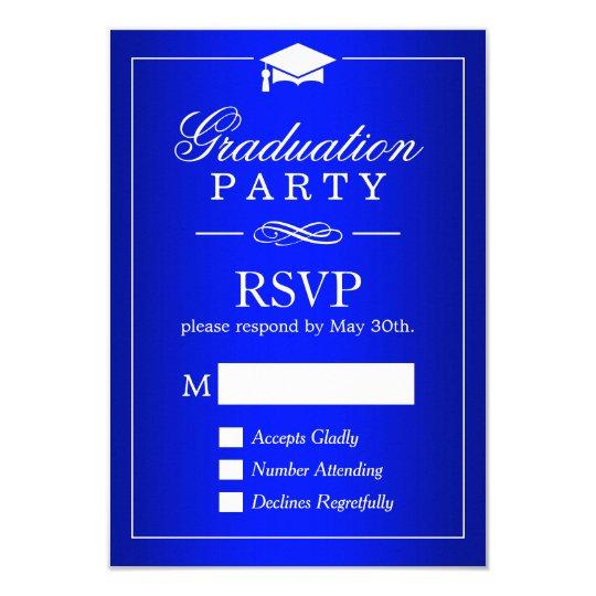 Plain Royal Blue Graduation Party RSVP Card