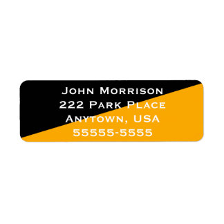 Plain Simple Black and Gold Diagonal Return Address Label