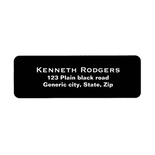 Plain simple black background white text custom return address label