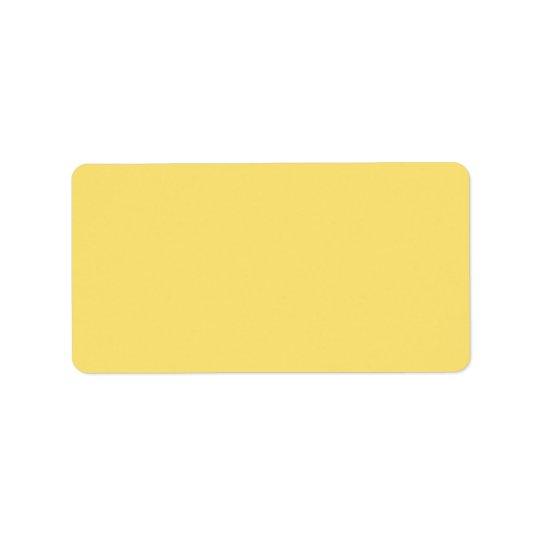 Plain simple lemon yellow background blank address label