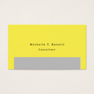 Plain Simple Yellow Grey Minimalist Design Business Card