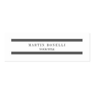 Plain Slim Grey Lines White Simple Business Card Skinny Business Cards