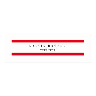 Plain Slim Red Lines White Simple Business Card Skinny Business Cards