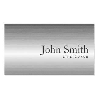 Plain Steel Metal Life Coach Business Card