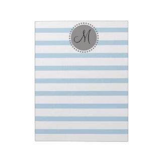 Plain Stripes Pattern Memo Monogram Notepad