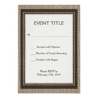 Plain tan burlap background template 9 cm x 13 cm invitation card