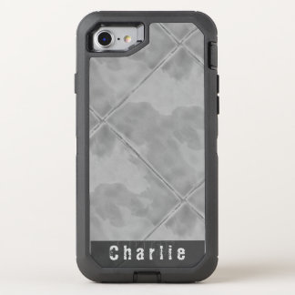 Plain Tile Ceramic Surface Gray any Text OtterBox Defender iPhone 7 Case