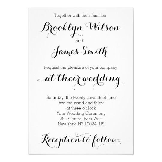 Plain Wedding Invitations White