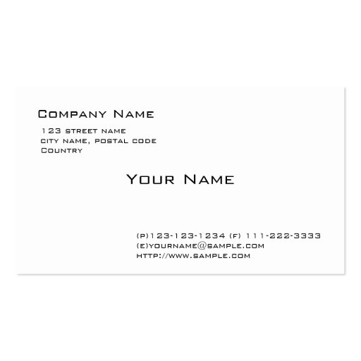Plain white pack of standard business cards zazzle for White business card template