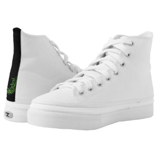 Plain White Canvas High Tops Printed Shoes