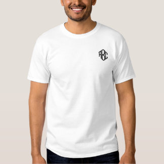 Plain White Embroidered Mens Monogram Template Embroidered T-Shirt
