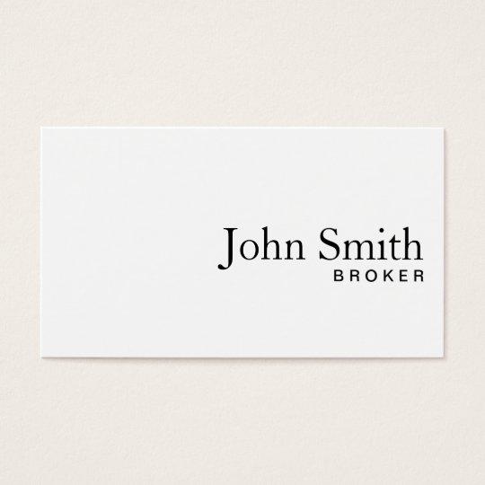 Plain White Real Estate Broker Business Card