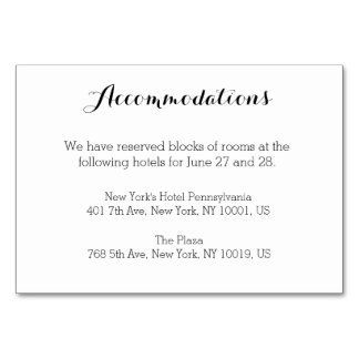 Plain White Wedding Accommodation Cards Table Cards