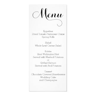 Plain White Wedding Menu Personalized Card