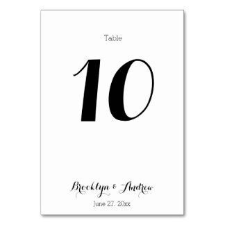 Plain White Wedding Table Number Cards