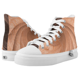 Plain Wood Design High Top Shoes Printed Shoes