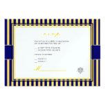 Plain yellow+navy blue stripes rsvp invitations