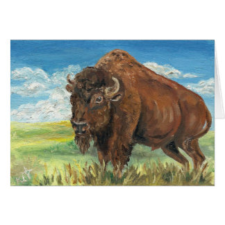 Plains Bull Buffalo American Bison Wildlife Art Card
