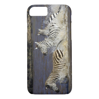 Plains Zebra (Equus quagga) running in water, iPhone 7 Case