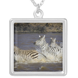 Plains Zebra (Equus quagga) running in water, Silver Plated Necklace